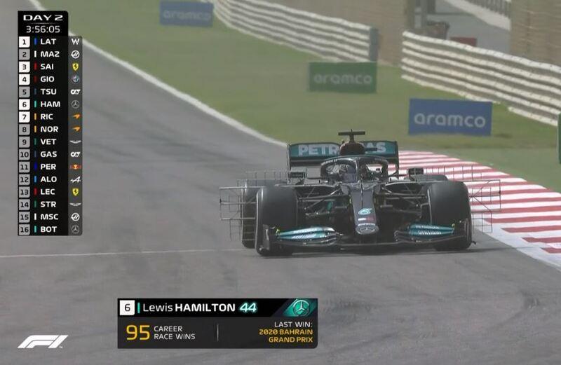 Hamilton, a pista con la parrilla de sensores en la parte delantera