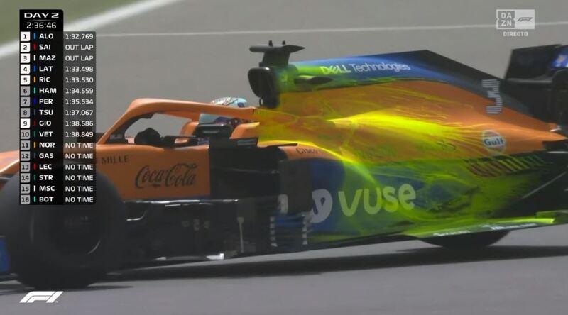 La parafina que lleva Ricciardo en el capó motor