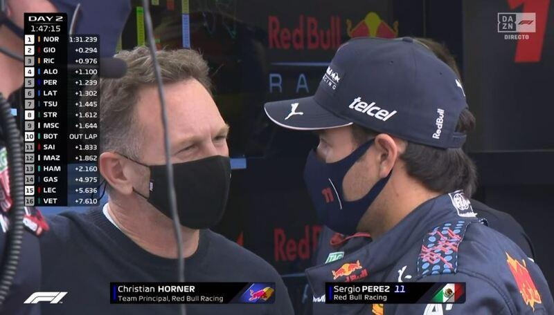 Pérez y Horner, hablando en esta tarde de día 2 de test de Fórmula 1 2021