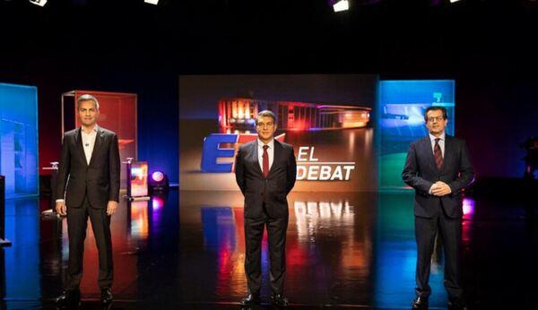 Los tres candidatos a la presidencia del FC Barcelona, preparados en el plató de TV3