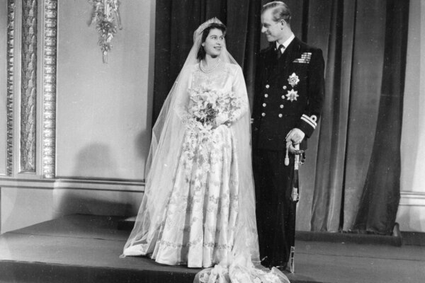 The official wedding picture of Princess Elizabeth and her new husband the Duke of Edinburgh, after their return to Buckingham Palace in November, 1947.