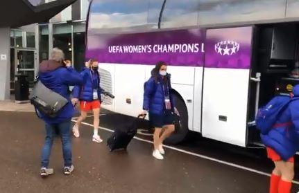 Las jugadoras del Barça saliendo del hotel para jugar la final de la Champions FOTO: MANEL MONTILLA