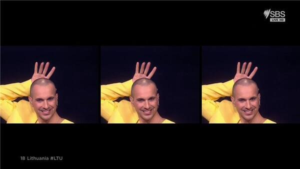 Split screen of a man in yellow smiling with his hand behind his head.