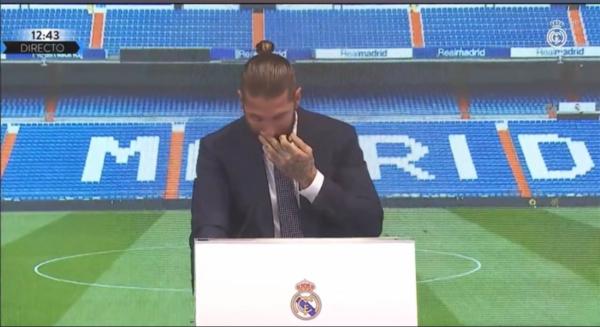 Momento en el que Sergio Ramos ha roto a llorar