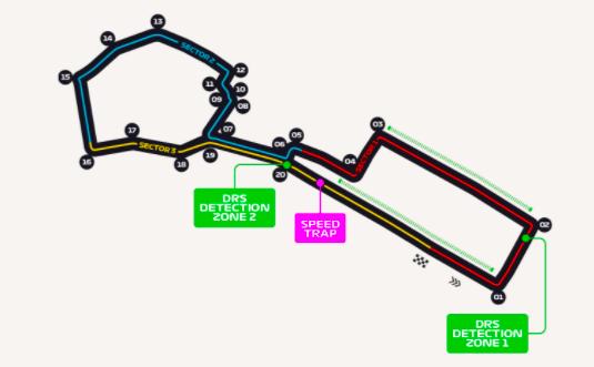 Este es el trazado del circuito urbano de Bakú, del GP de Azerbaiyán de Fórmula 1